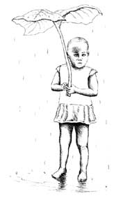 illustration of child sheltering from the rain under a giant leaf child