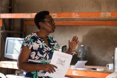 Maureen Mugisha, introducing the Memory Book origins and objectives to the participants at Mindset.