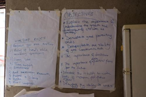 Workshop rules and objectives by Maureen Mugisha.
