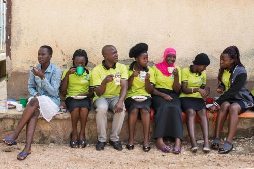 Students at Mindset having a tea break.
